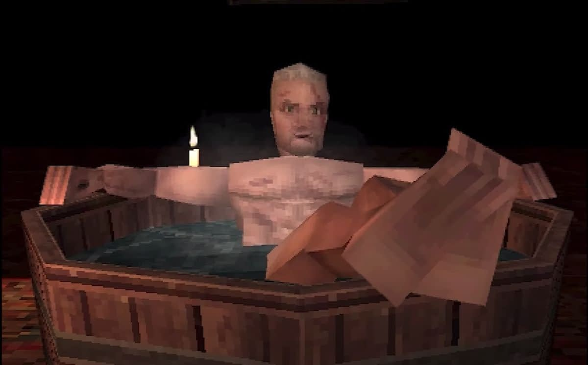 Geralt takes a nice warm bath in this Witcher 3 PS1 demake The Witcher 3 PS1 demake 2